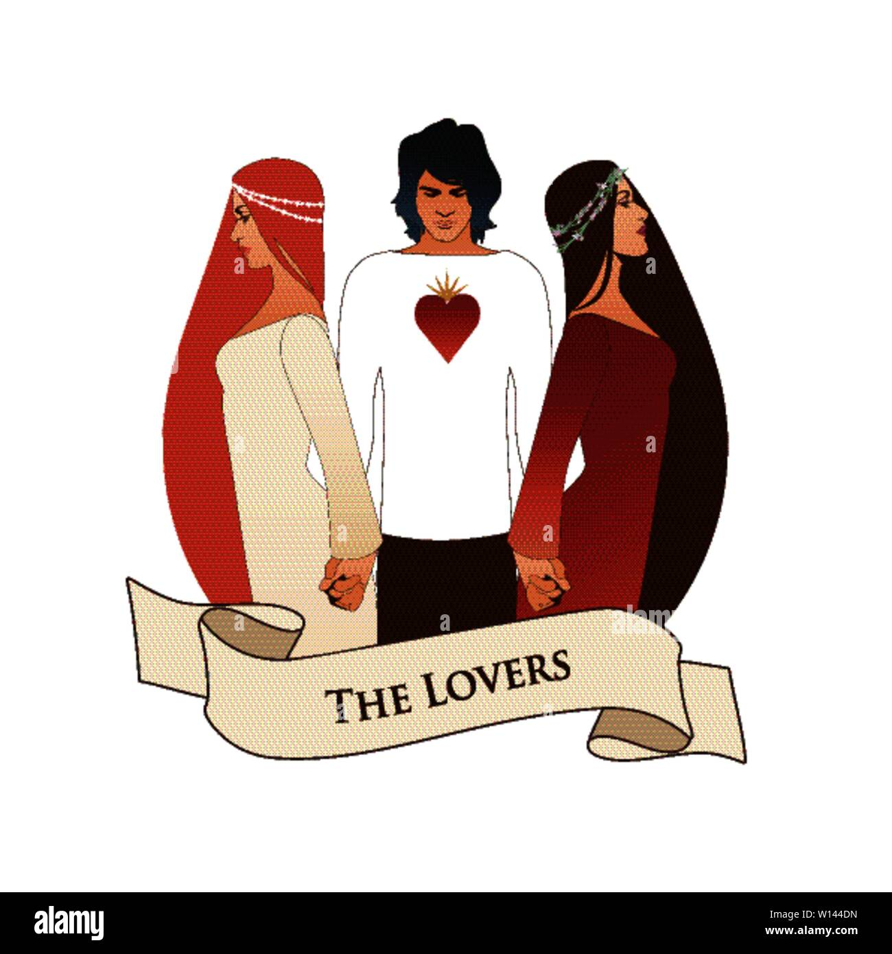Major Arcana Emblem Tarot Card. The Lovers. Young man holding two beautiful women by the hand. T-shirt with heart on the chest, isolated on white back - Stock Image