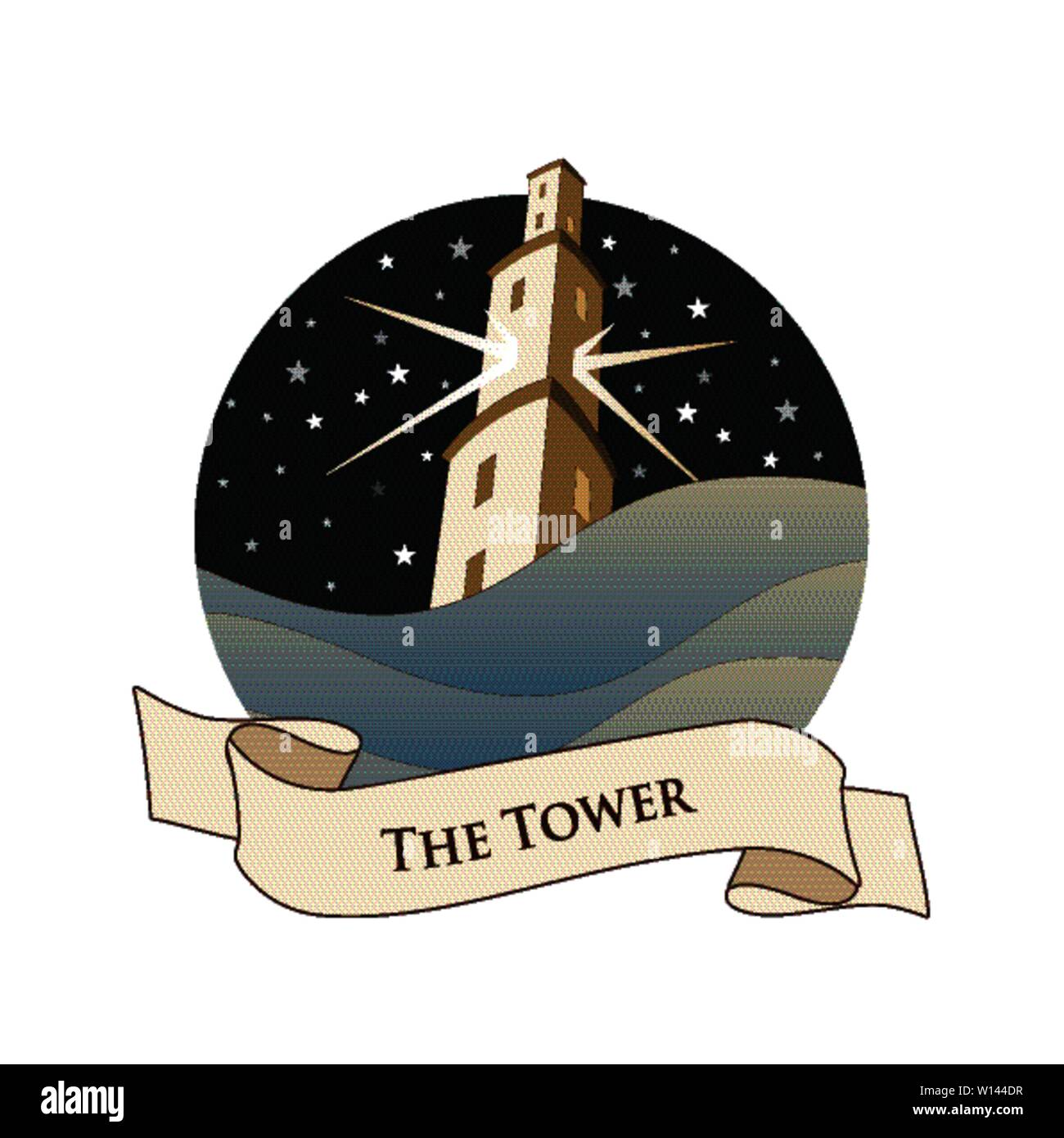 Major Arcana Emblem Tarot Card. The Tower. Large tower over raging sea, over a starry night sky, isolated on white background - Stock Image