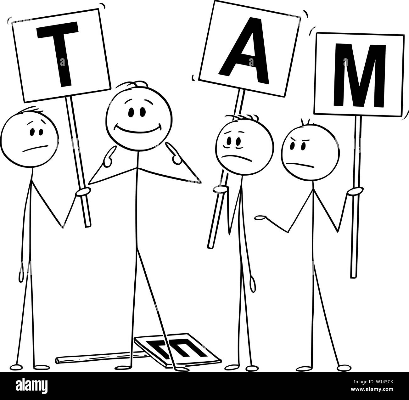 Vector Cartoon Stick Figure Drawing Conceptual Illustration Of Man Or Businessman Pointing On Yourself As The Best Part Of The Team Business Concept Of Arrogance Individuality And Egoism Stock Vector Image