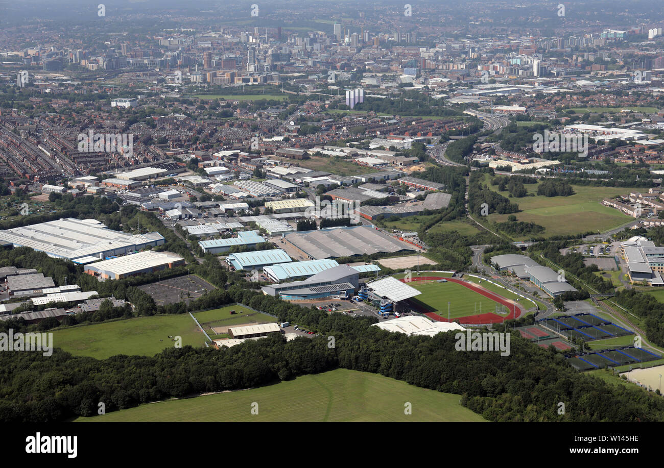 aerial view of the South Leeds Athletics Stadium and the industrial estate on Lockwood Way & Parkside Lane, Middleton, Leeds LS11 - Stock Image
