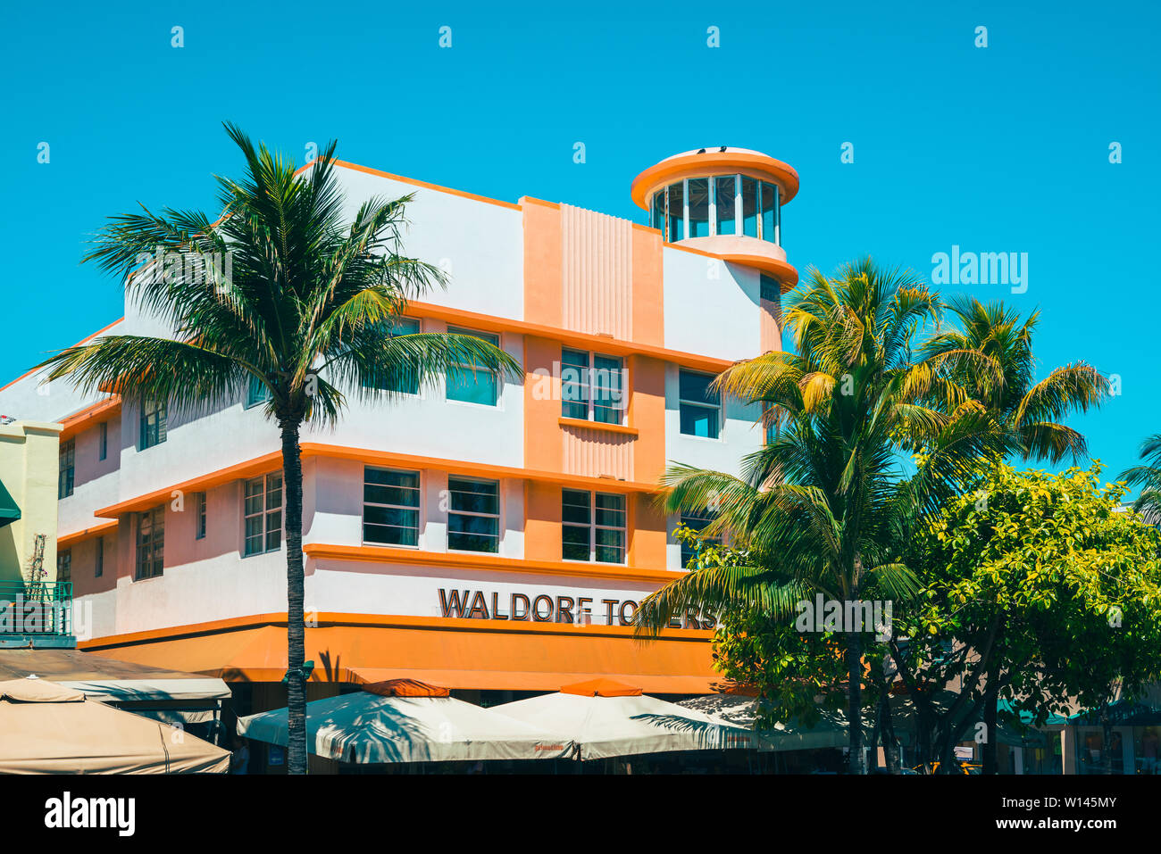 Detail of the Waldorf Towers Hotel in Miami South Beach Florida USA Stock Photo