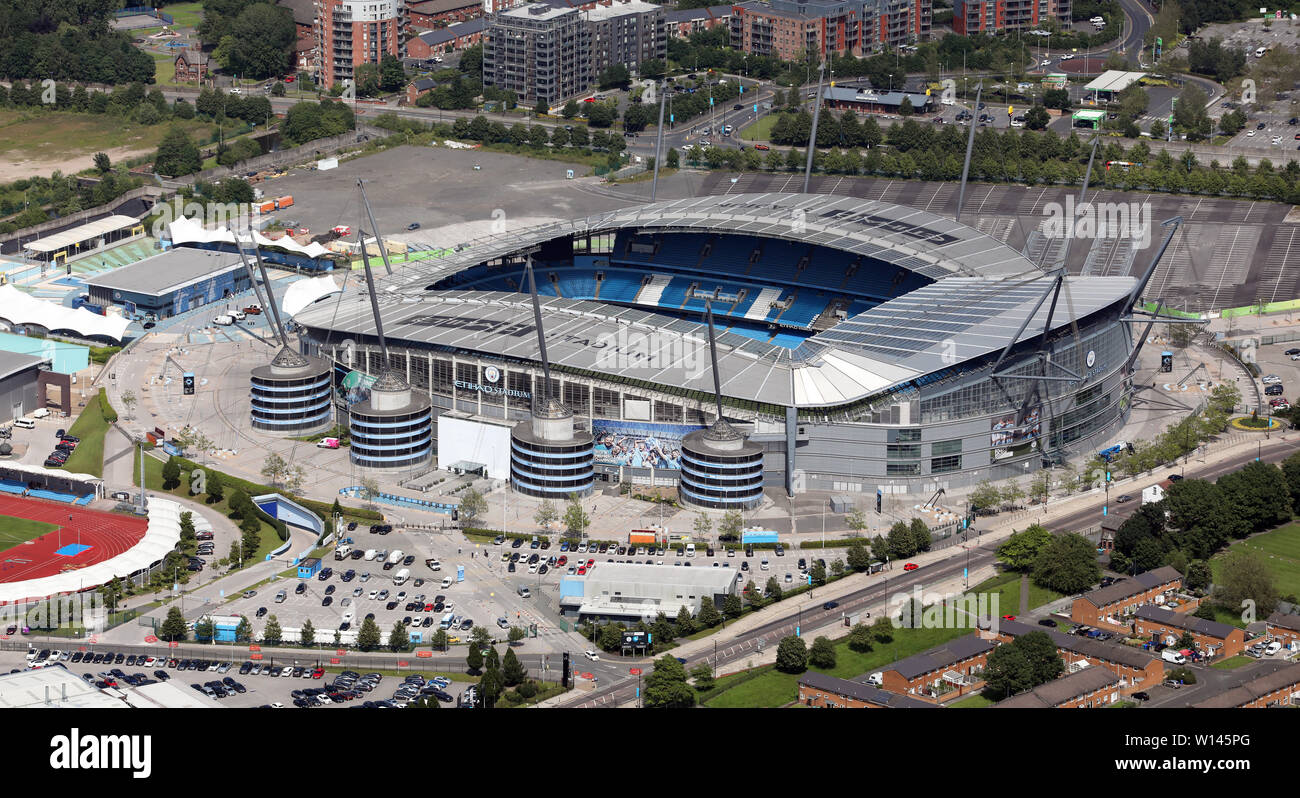 aerial view of the Manchester City Etihad Stadium & training faclitlies - Stock Image