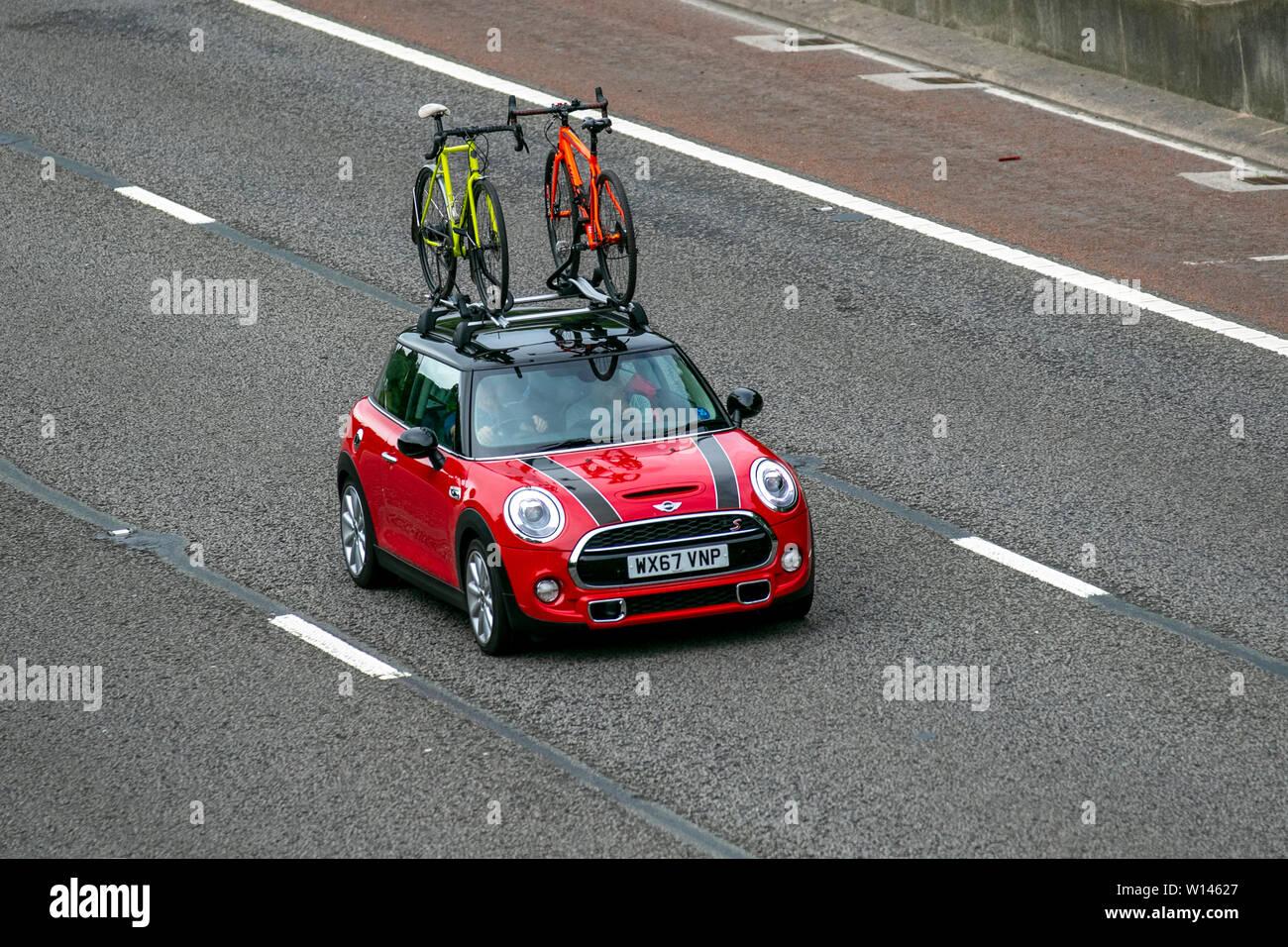2017 Red Mini Cooper S M6 Lancaster Uk Vehicular Traffic Transport Modern Saloon Cars Roof Rack