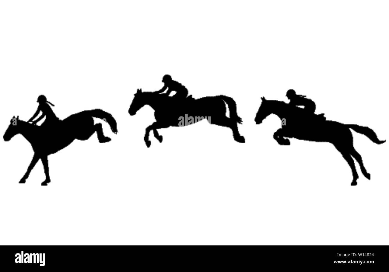 Horse rider jump in three steps, Jumping show. Equestrian sport. High quality silhouettes - vector - Stock Vector