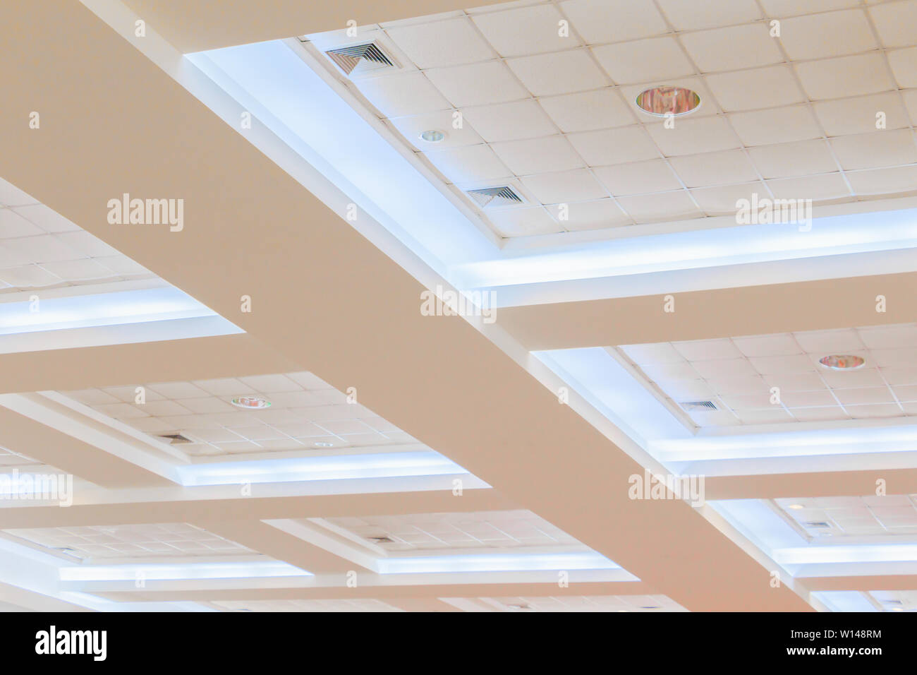 Ceiling Gypsum Of Business Interior Office Building And Light Neon Style Monochrome With Copy Space Add Text Stock Photo Alamy