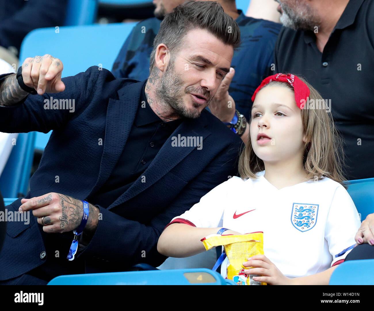 0d1cf93a3048 (190630) -- BEIJING, June 30, 2019 (Xinhua) -- (190630) -- BEIJING, June  30, 2019 (Xinhua) -- David Beckham and his daughter Harper Beckham watch ...