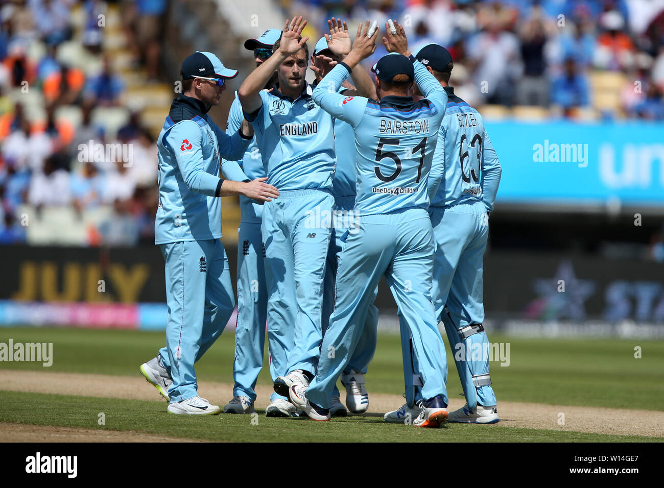 Edgbaston, Birmingham, UK. 30th June, 2019. ICC World Cup Cricket, England versus India; Chris Woakes and team mates celebrate as he takes the wicket of KL Rahul Credit: Action Plus Sports/Alamy Live News - Stock Image