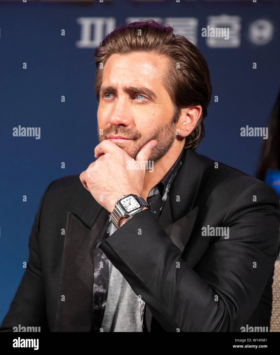 """Seoul, South Korea. 30th June, 2019. Actor Jake Gyllenhaal attends a press conference of the film """"Spider-Man: Far From Home"""" in Seoul, South Korea, June 30, 2019. The movie will be released in South Korea on July 2. Credit: Lee Sang-ho/Xinhua/Alamy Live News Stock Photo"""