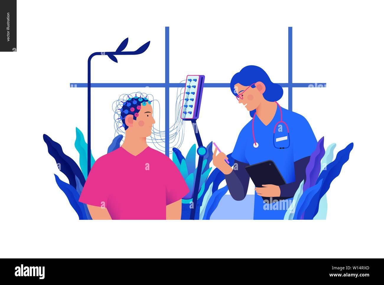 Medical tests Blue illustration- EEG - electroencephalography -modern flat vector concept digital illustration of encephalography procedure -a patient Stock Vector