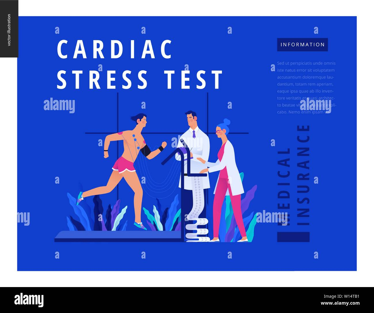 Medical tests Blue template - cardiac stress test -modern flat vector concept digital illustration, stress test procedure -patient with sensors on tre Stock Vector