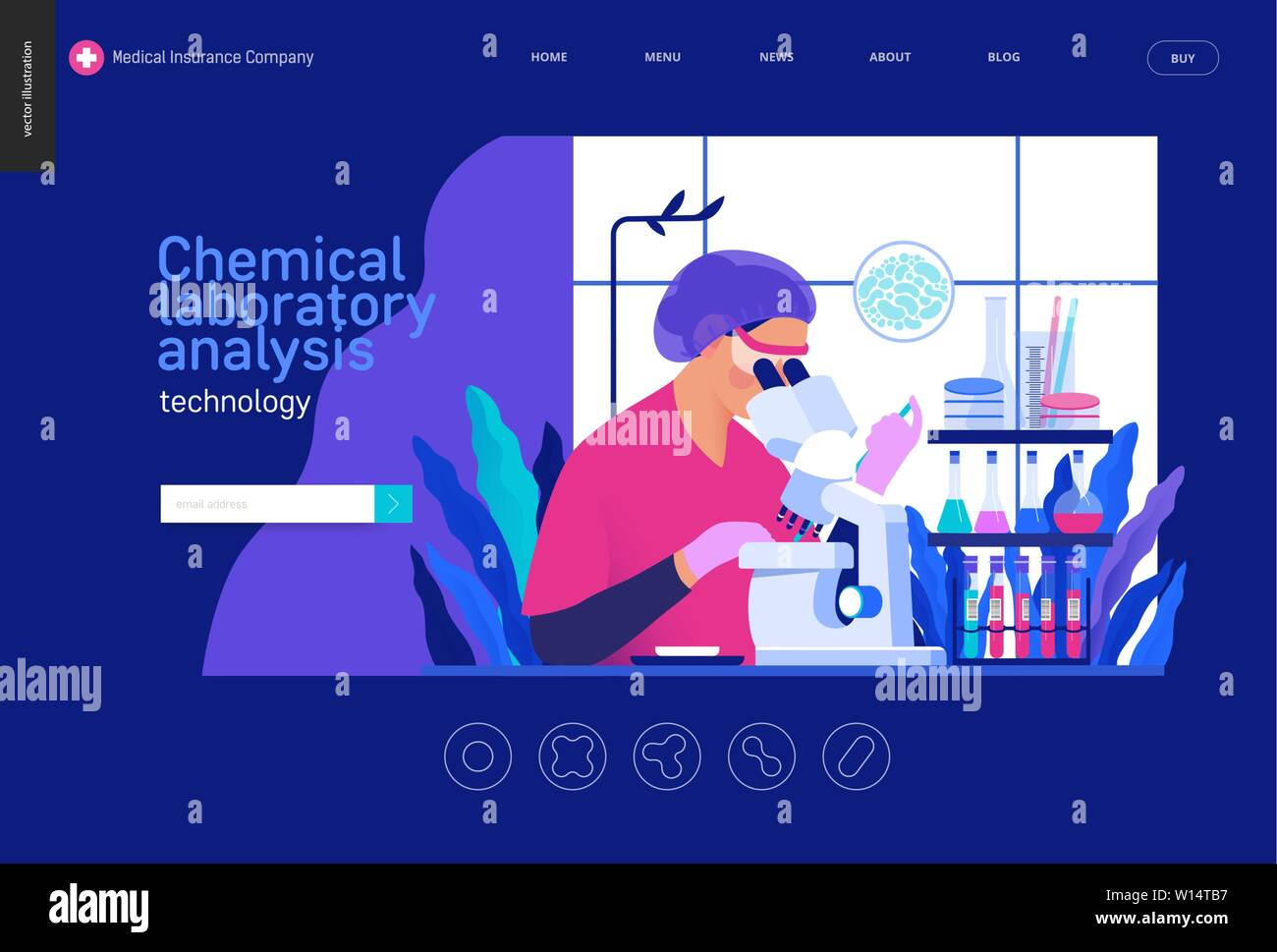 Medical tests Blue template -chemical laboratory analysis - modern flat vector concept digital illustration - laboratory analysis -woman laboratory as Stock Vector