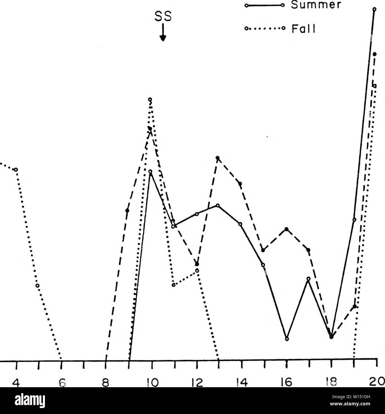 Archive image from page 103 of Diel and seasonal activities of. Diel and seasonal activities of Culicoides spp. Near Yankeetown, Florida . dielseasonalacti00lill Year: 1985  92 en LiJ < â z. oH < o o - - SR i - \ \ \ \ \ â 4 ' \ \ \ \ \ \ \\ \ 1: t â r '' 1 \ \ \ I 1 \ \ ' 1 1 ⢠⢠Spring    COLLECTION PERIOD Figure 30. Diel host-seeking activity of £. barbosai during different seasons. Stock Photo