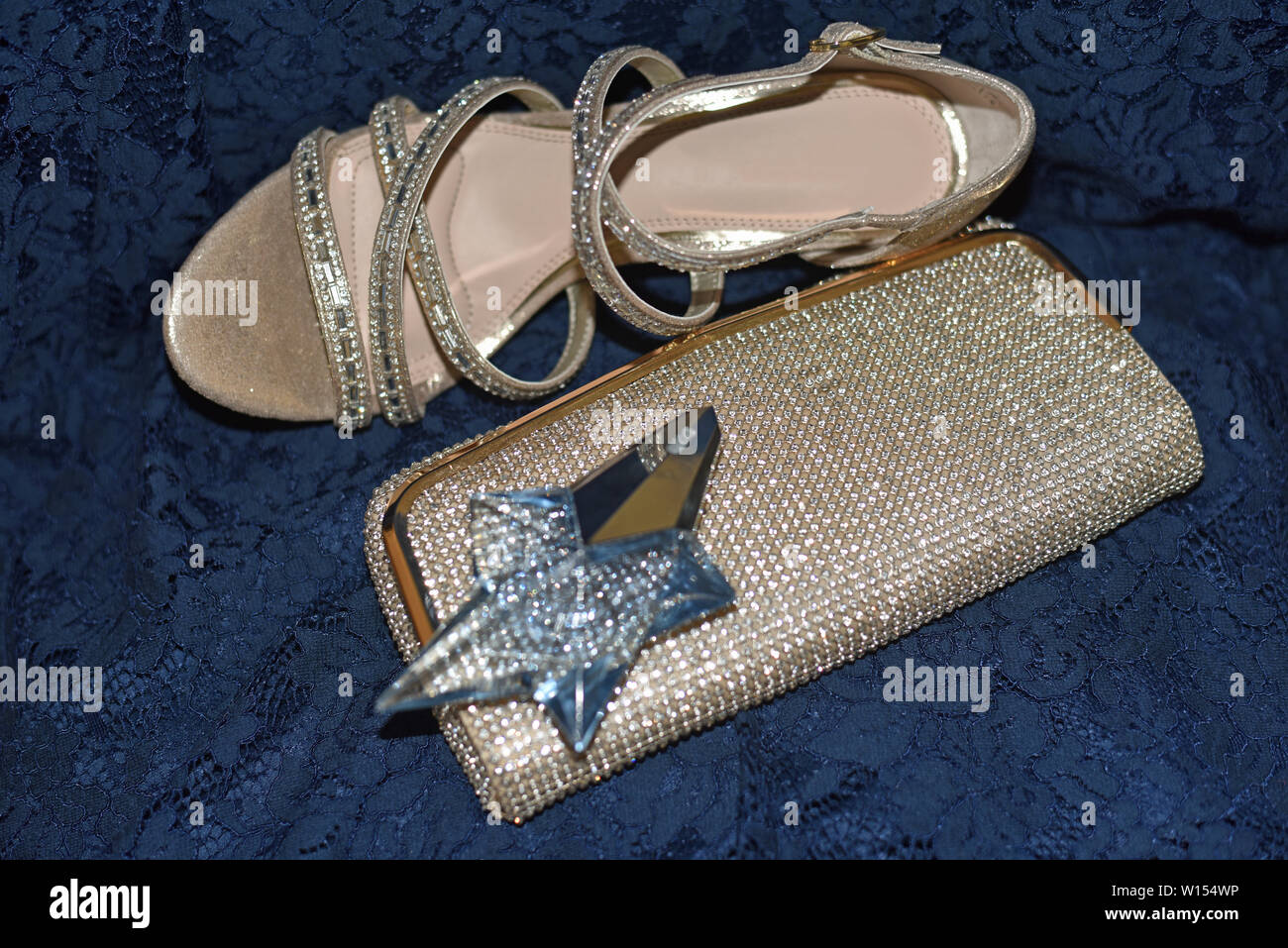 Heels, Clutch and Perfume - Stock Image