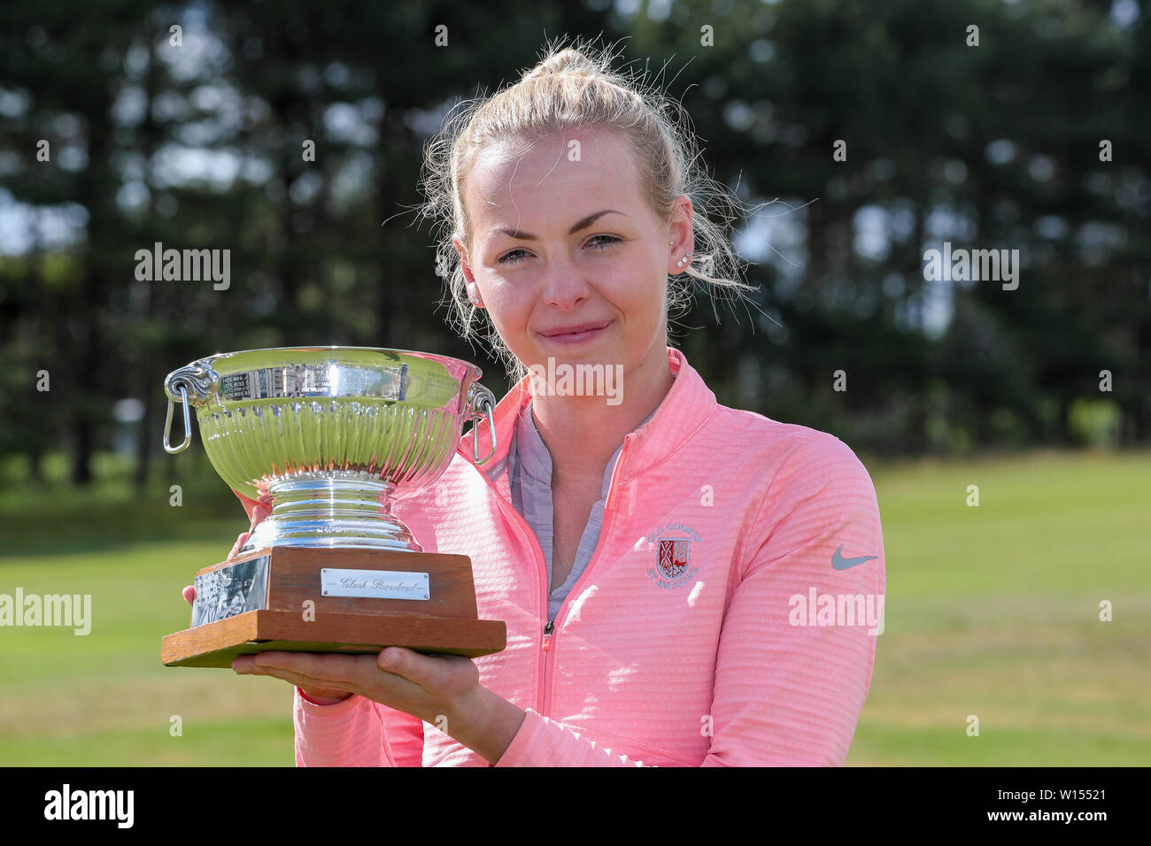 Troon, Scotland, UK. 30th June 2019. One the final round of the Scottish Women's Amateur Championship Clark Rosebowl the Championship Cup was won by KIMBERLEY BEVERIDGE from Aboyne Golf Club and the Silver Plate was won by MEGAN ROBB from Banchory Golf Club.Picture of MEGAN ROBB with the trophy Credit: Findlay/Alamy Live News - Stock Image