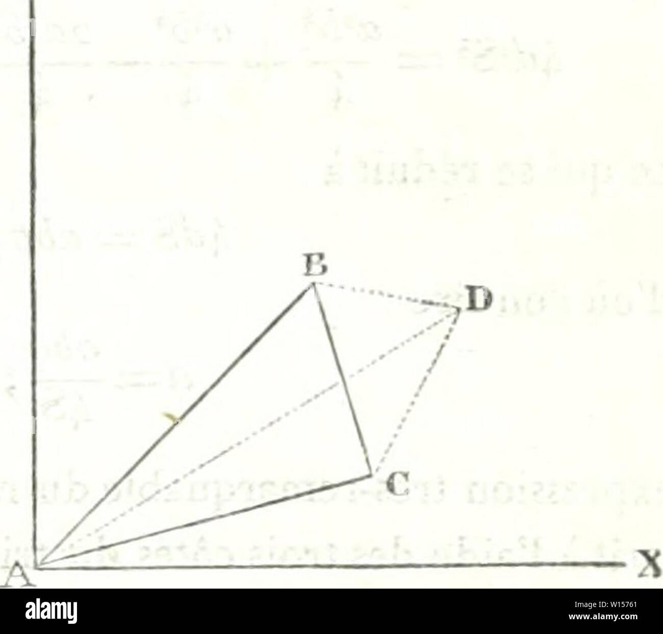Archive image from page 120 of Dictionnaire des sciences mathématiques pures. Dictionnaire des sciences mathÃmatiques pures et appliquÃes . dictionnairedess01mont Year: 1838  ÃP (fn triangle, on aura dÃfinitivement AP -iOT COSBAC: 2a6 Â«'galilà qui donne la valeur d'un angle au moyen des ti( Â« côtÃs du triangle, 'i On obtiendrait de la même manière, pom- les deux auUes angles, a'c' â b' .... : cos ABC = COS BC A =: 2ac 6 + C â a' â ibc Pour trouver la surface du triangle, il faut abaisser (lu sommet A une perpendiculaire AD sur le côtà BC eu c, dont l'Ãquation est ' ou fl2) yân= , [xâm], Stock Photo