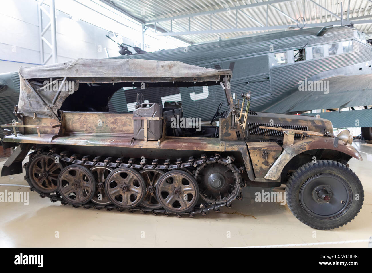 A half-track military vehicle used by the German Wehrmacht Heer, Luftwaffe and Waffen-SS during the Second World War on museum display at Gardemoen. Stock Photo