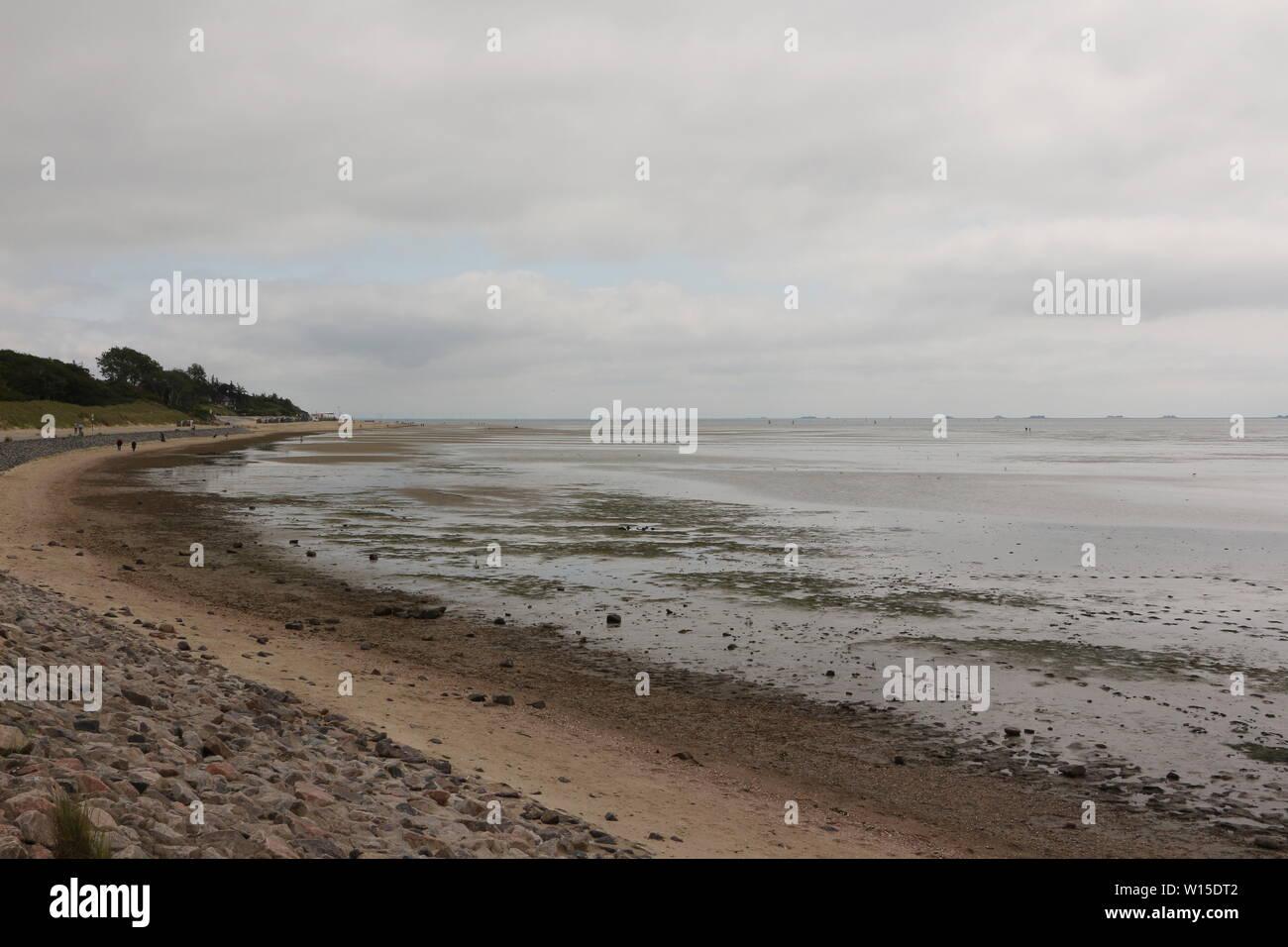 Blick ins Wattenmeer vor der Nordseeinsel Föhr Stock Photo