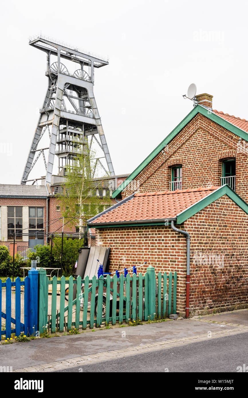 The former miners' housing next to the Arenberg pit are modest, semi-detached, brick houses typical from the Nord-Pas de Calais mining basin, France. Stock Photo