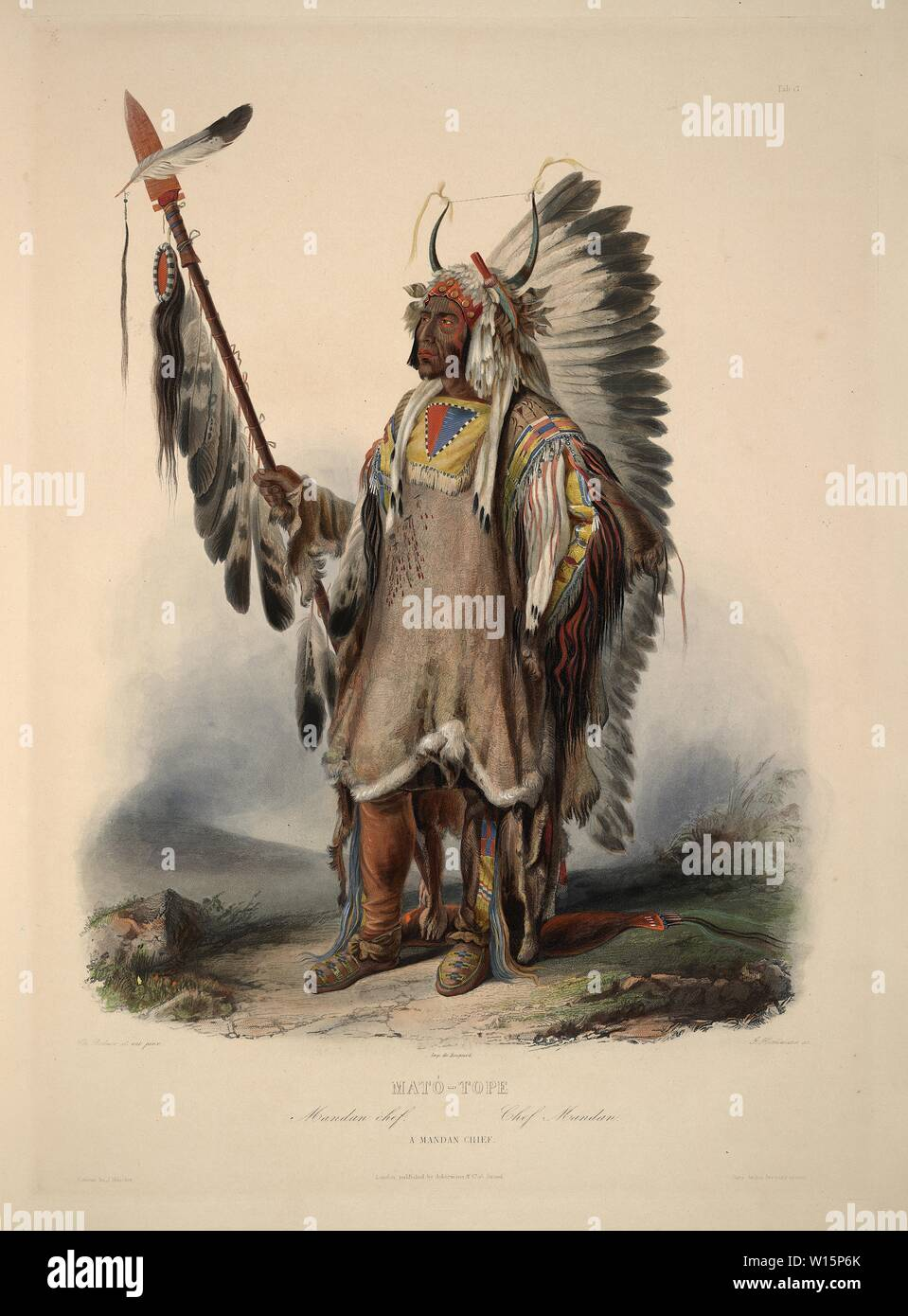 Mató-Tope, a Mandan chief - Karl Bodmer aquatint from Travels in the Interior of North America (Voyage dans l'intérieur de l'Amérique du Nord) Stock Photo