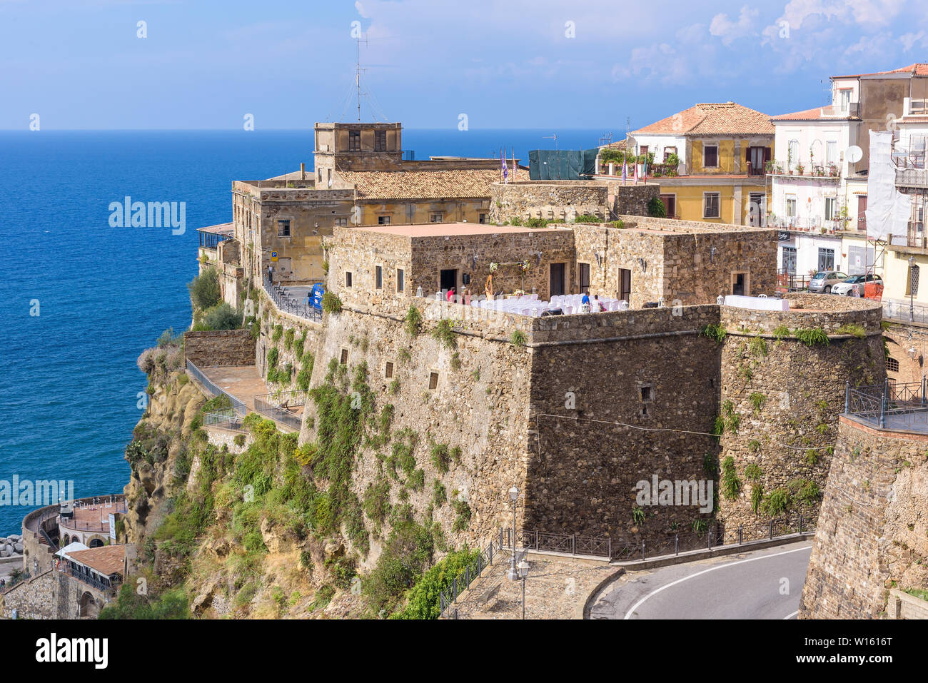 Pizzo, Italy - September 10, 2016: View of Castello Murat, built by the Aragonese in the 15th century, in which Joachim Murat, ex-king of Naples, was Stock Photo