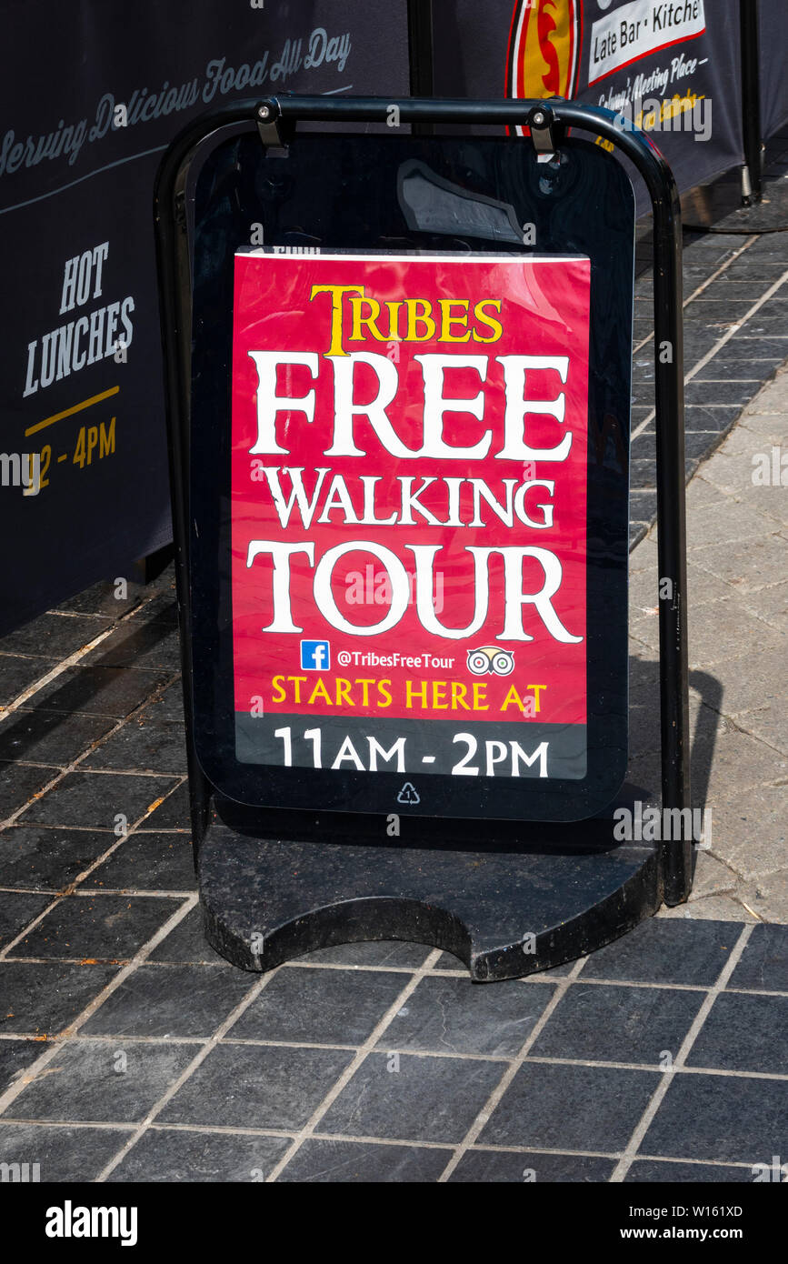 Free walking tour sign in Galway, Ireland Stock Photo