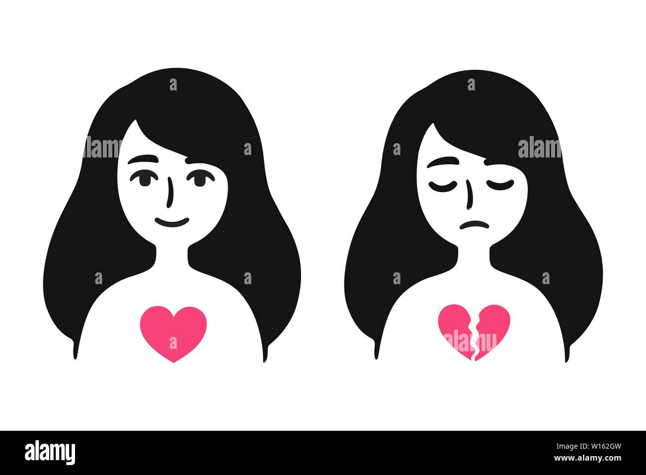 Girl In Love And Sad With Broken Heart Breakup Depression Feeling Sad About Relationship Problems Simple Cartoon Drawing Vector Clip Art Illustrat Stock Vector Image Art Alamy