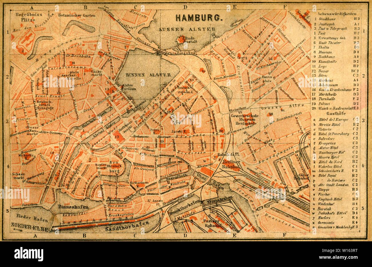 """Europa, Deutschland, Hamburg, Stadtplan ( Kartogr. Anstalt v. H. Kefl , Gotha ) , aus :  """" Städtebilder und Landschaften - Hamburg """" , von Dr. Julius Stock Photo"""