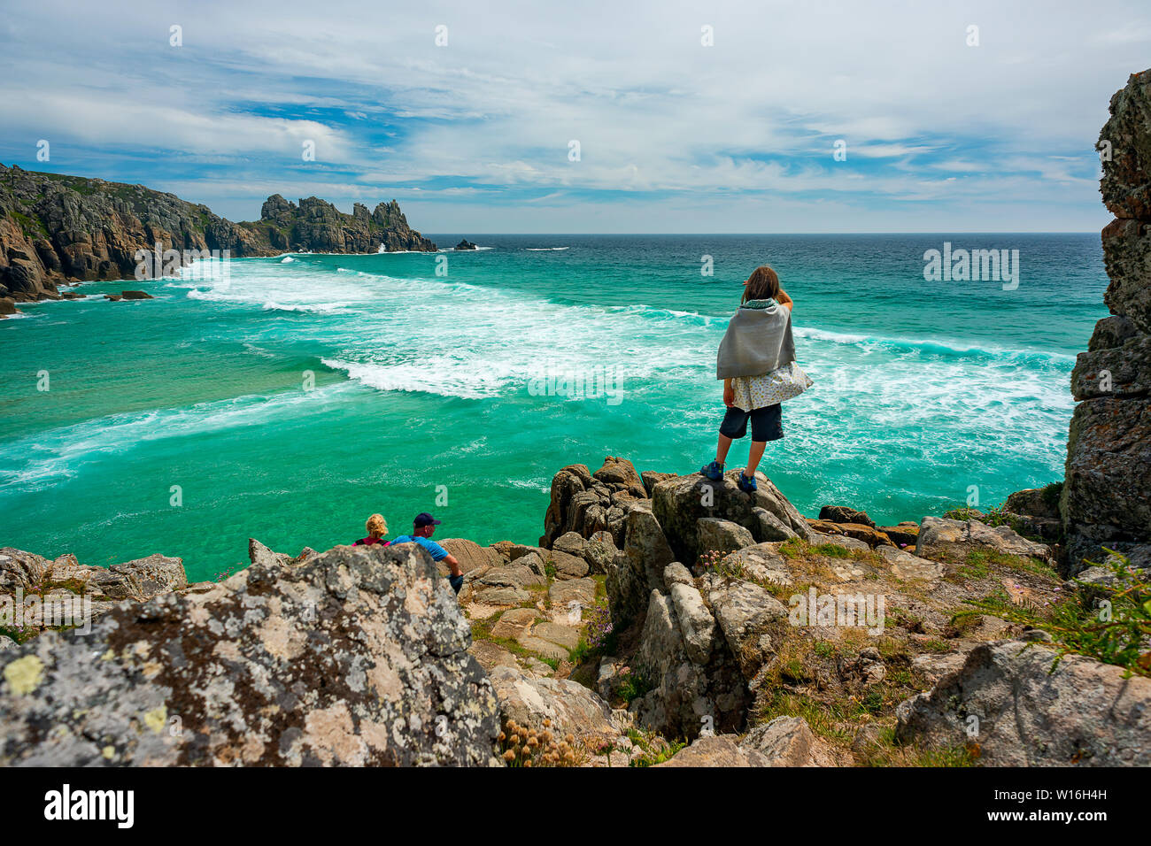 Editorial: National Trust Land, Unknown member of the public. Porthcurno, Cornwall, UK. 31/05/2019. Looking across from Porthcurno to Pednvouder. Stock Photo