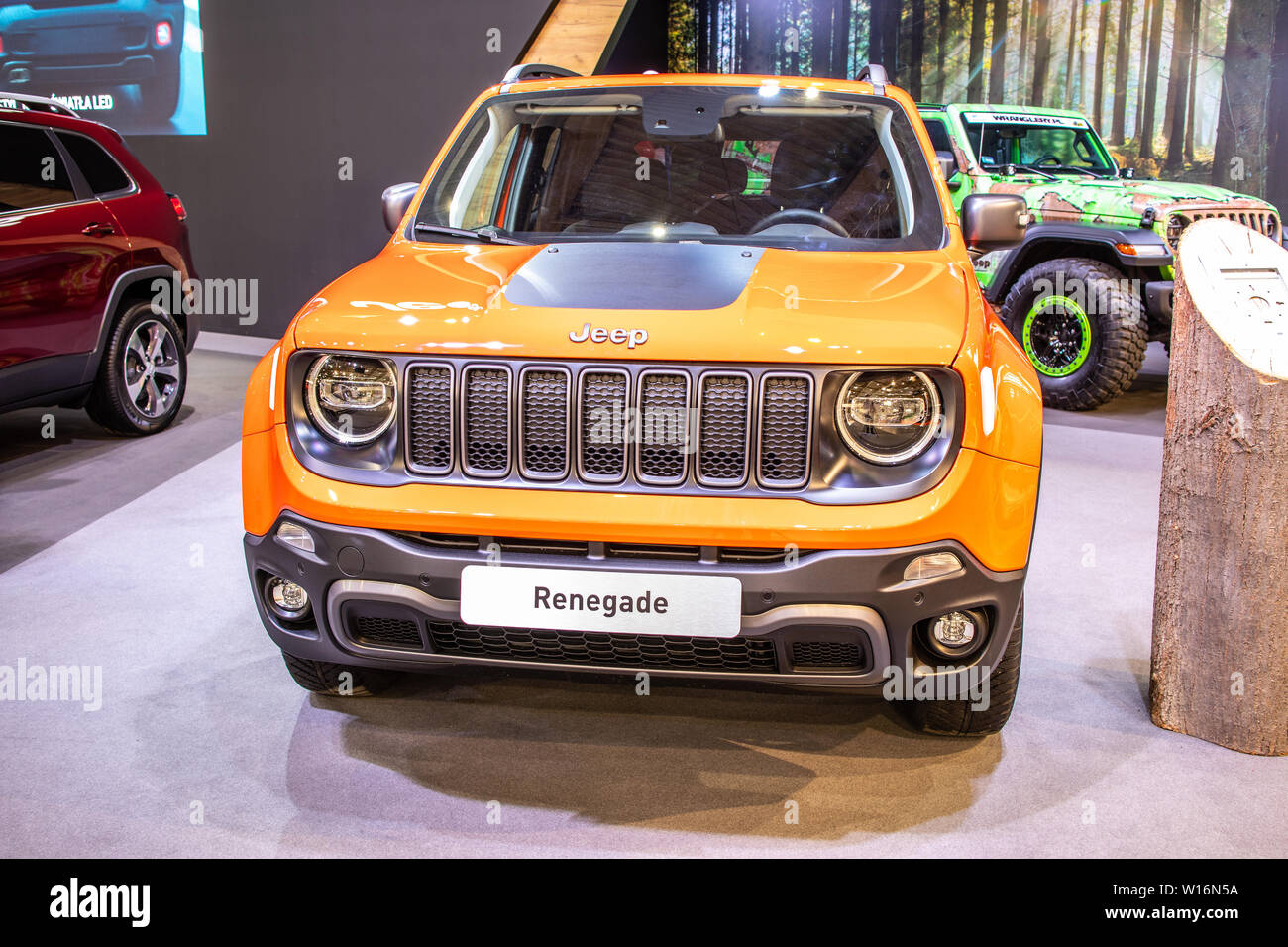 Poznan, Poland, March 2019: Jeep Renegade at Poznan International Motor Show, BU/520, Facelift, subcompact crossover SUV produced by Jeep Stock Photo