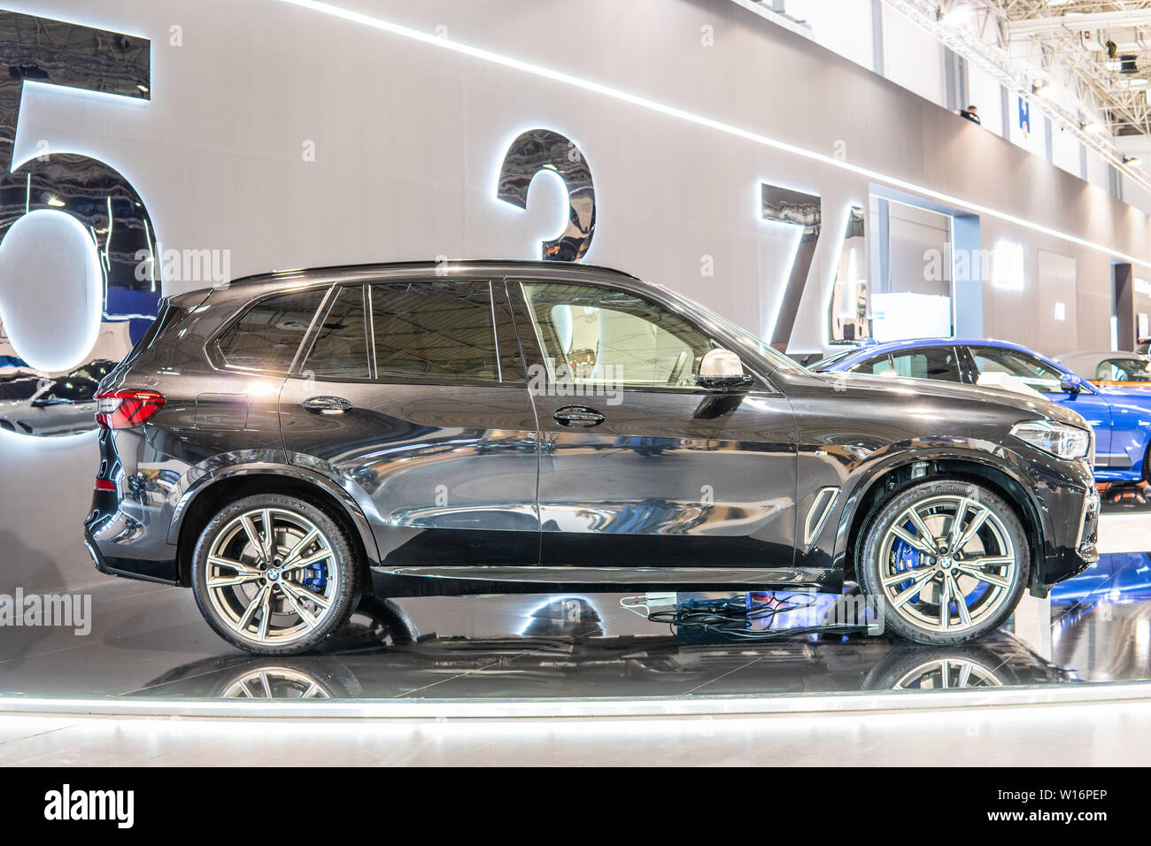 Poznan, Poland, Mar 2019 all new BMW X5 M50d,Poznan International Motor Show, 4th gen G05, suv manufactured and marketed by BMW - Stock Image