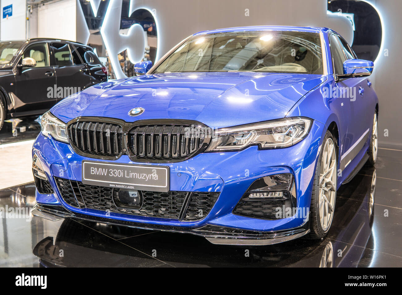 Poznan Poland Mar 2019 Blue All New Bmw 3 Series Sedan Limousine