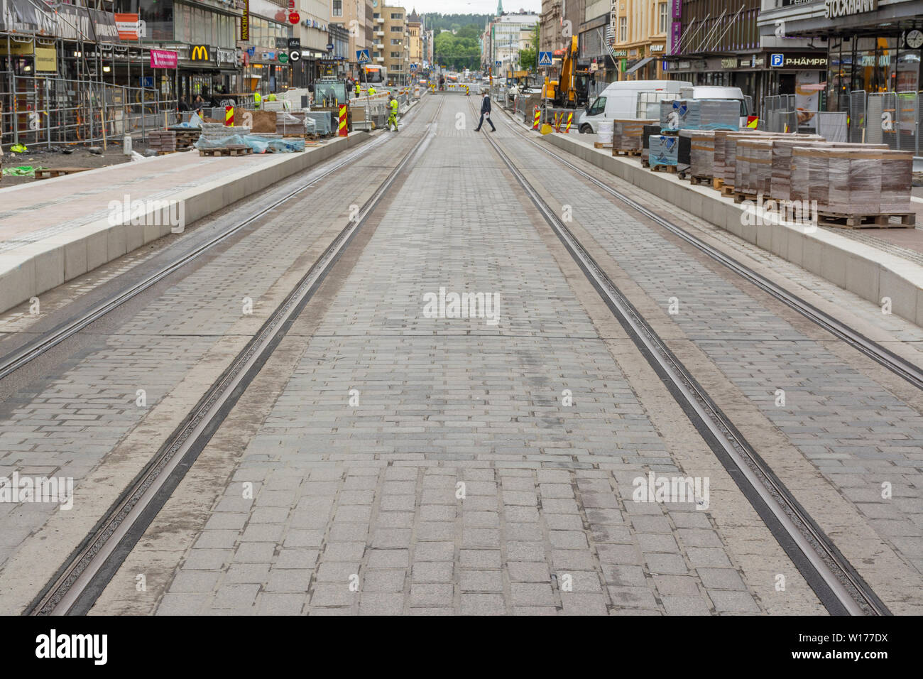 Tram Tracks Been Built on Hämeenkatu Street in Tampere Finland - Stock Image