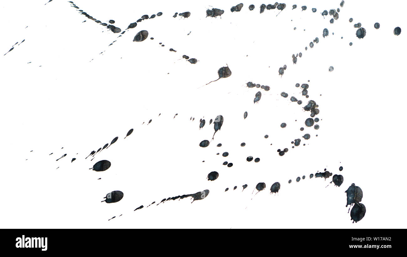 Black ink spots. Abstract background. Design elements. Isolate on white background. - Stock Image