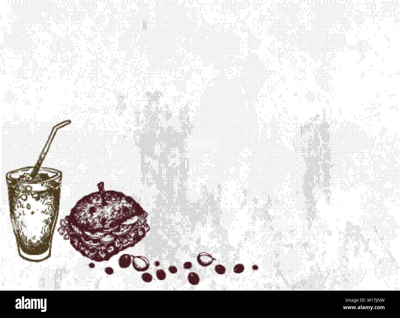 But Frist Coffee, Illustration Hand Drawn Sketch of Delicious Pork Burgery with Lettuce, Tomato, Onions and Cheese on Wheat Buns and Iced Coffee or Ic Stock Vector