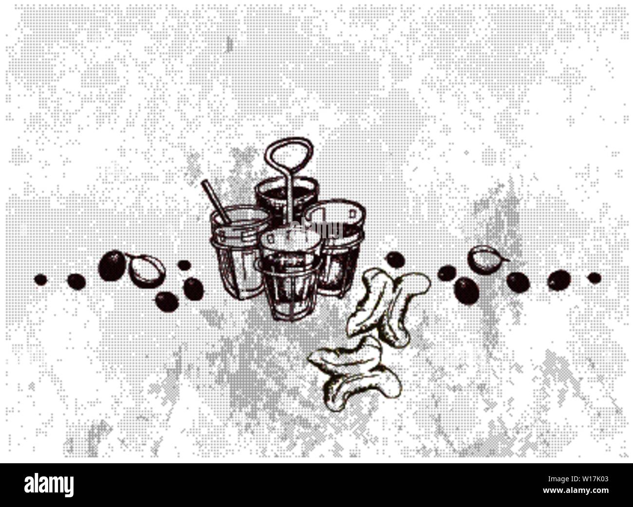 Illustration Hand Drawn Sketch of Ancient Chinese Coffee and Tea with Thai Traditional Snacks Deep Fried Doughstick. A Popular Drink in Asia. Stock Vector