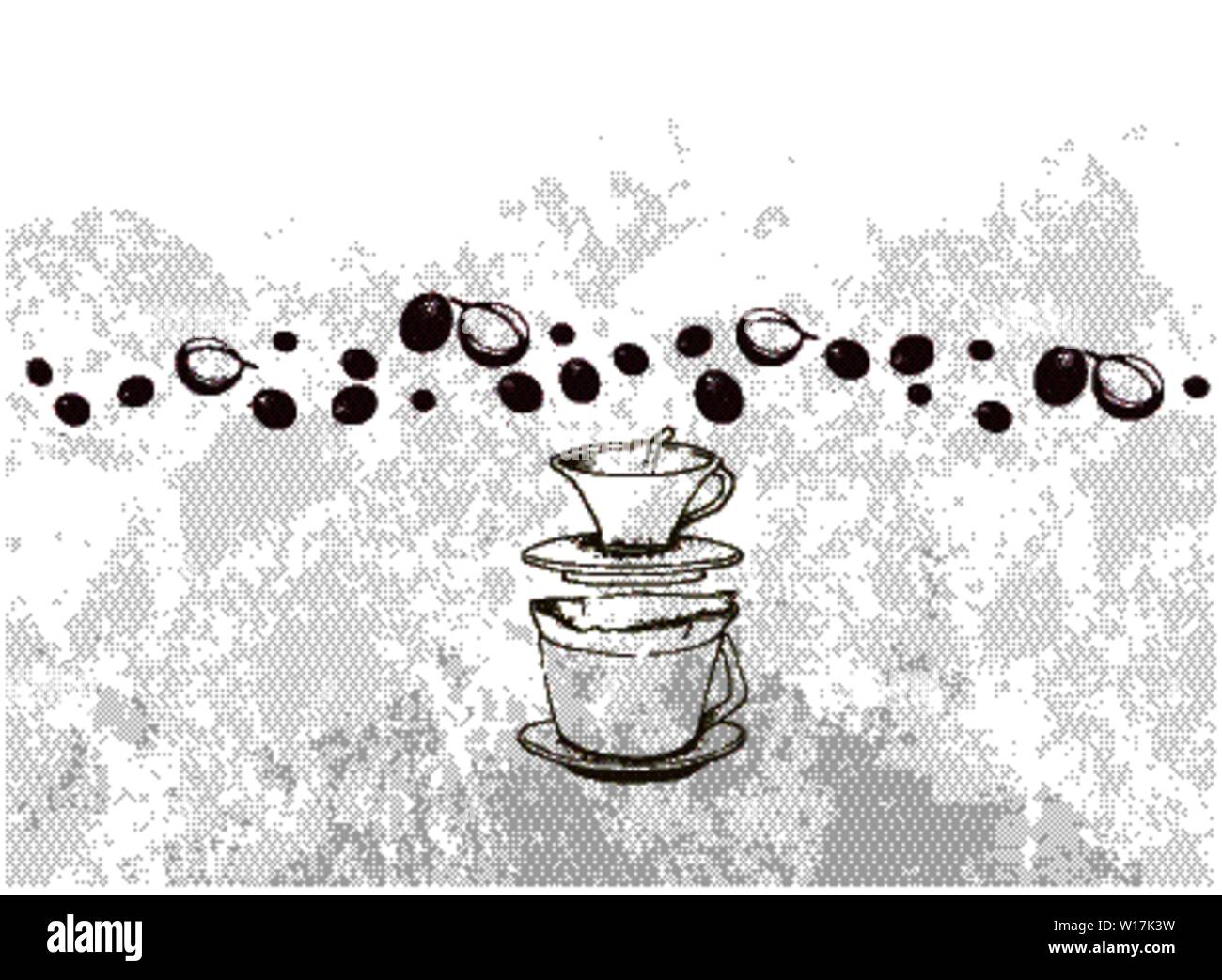 Good Morning, Illustration Hand Drawn Sketch of Coffee Beans with Drip Coffeemaker and Whole Grain Bread Sandwich. An Utensil Used to Brew Coffee Stock Vector