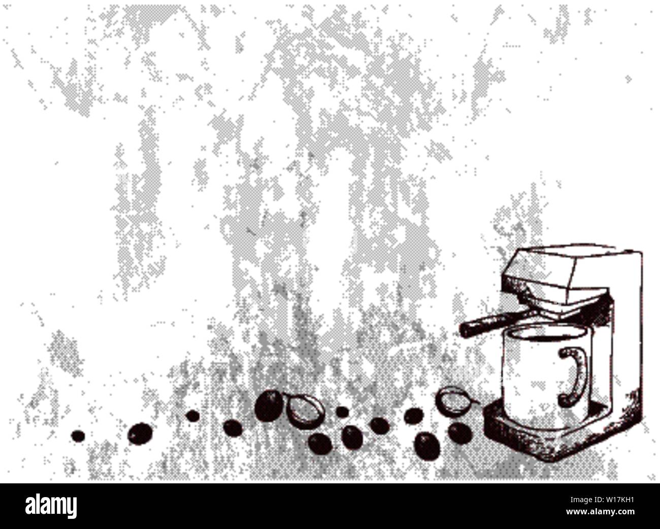 Illustration Hand Drawn Sketch of Coffee Beans with Espresso Machine. An Appliance Used to Brew Coffee. Stock Vector