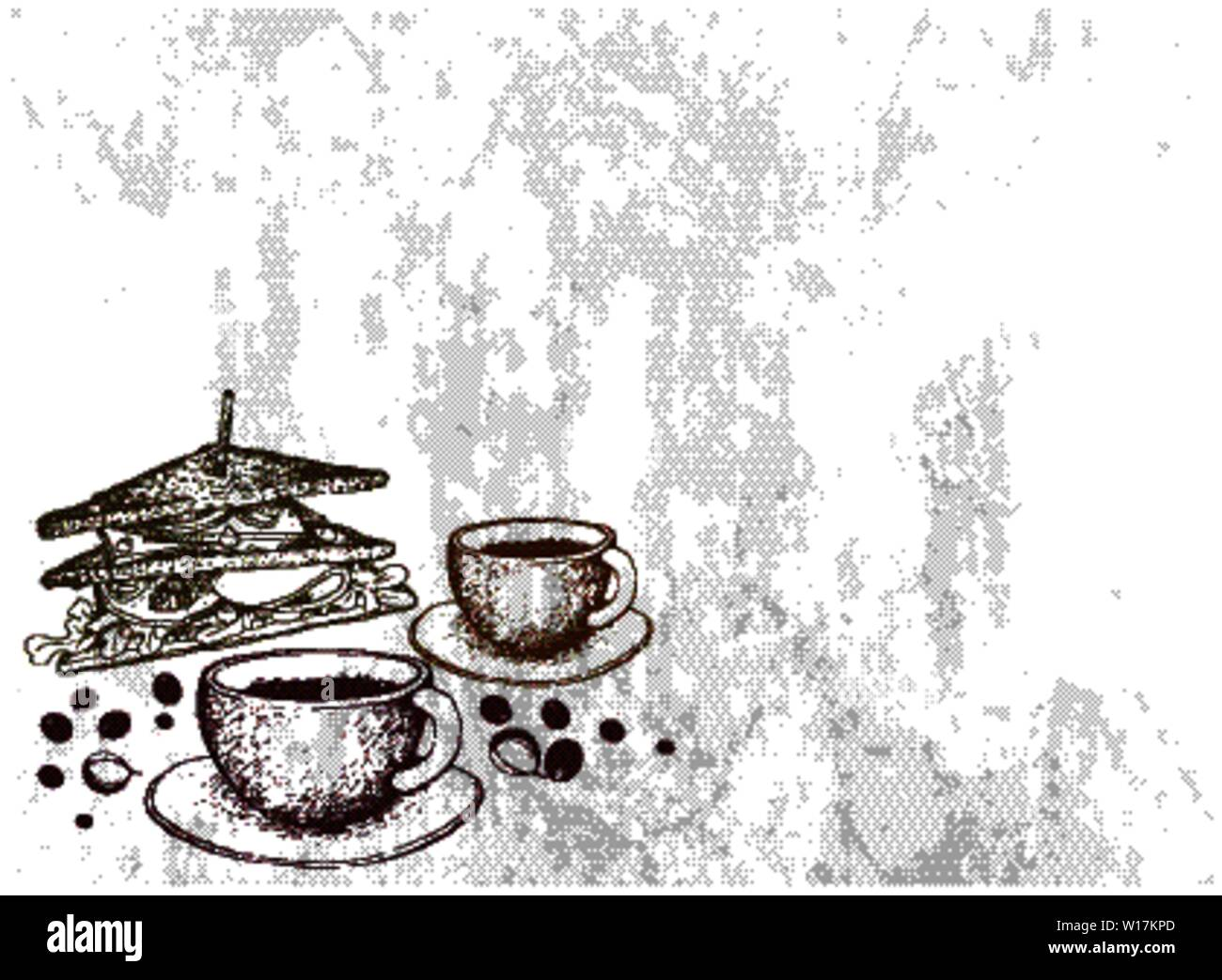 Coffee First, Illustration Hand Drawn Sketch of Hot Coffee with Grilled Sandwich. Stock Vector