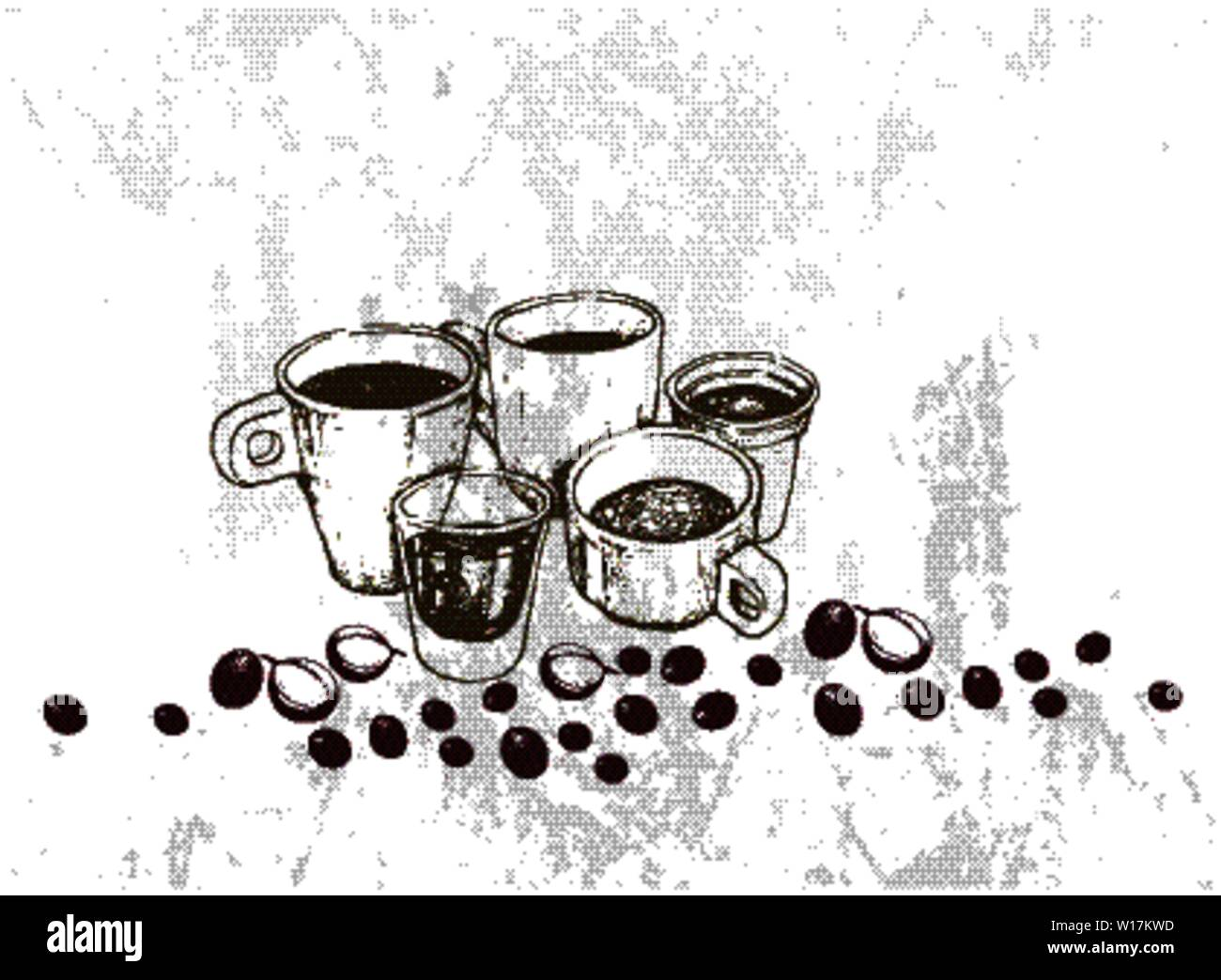 Illustration Hand Drawn Sketch of A Group of Coffee Cup, Mug, Shot Glass and Takeaway Coffee. Stock Vector