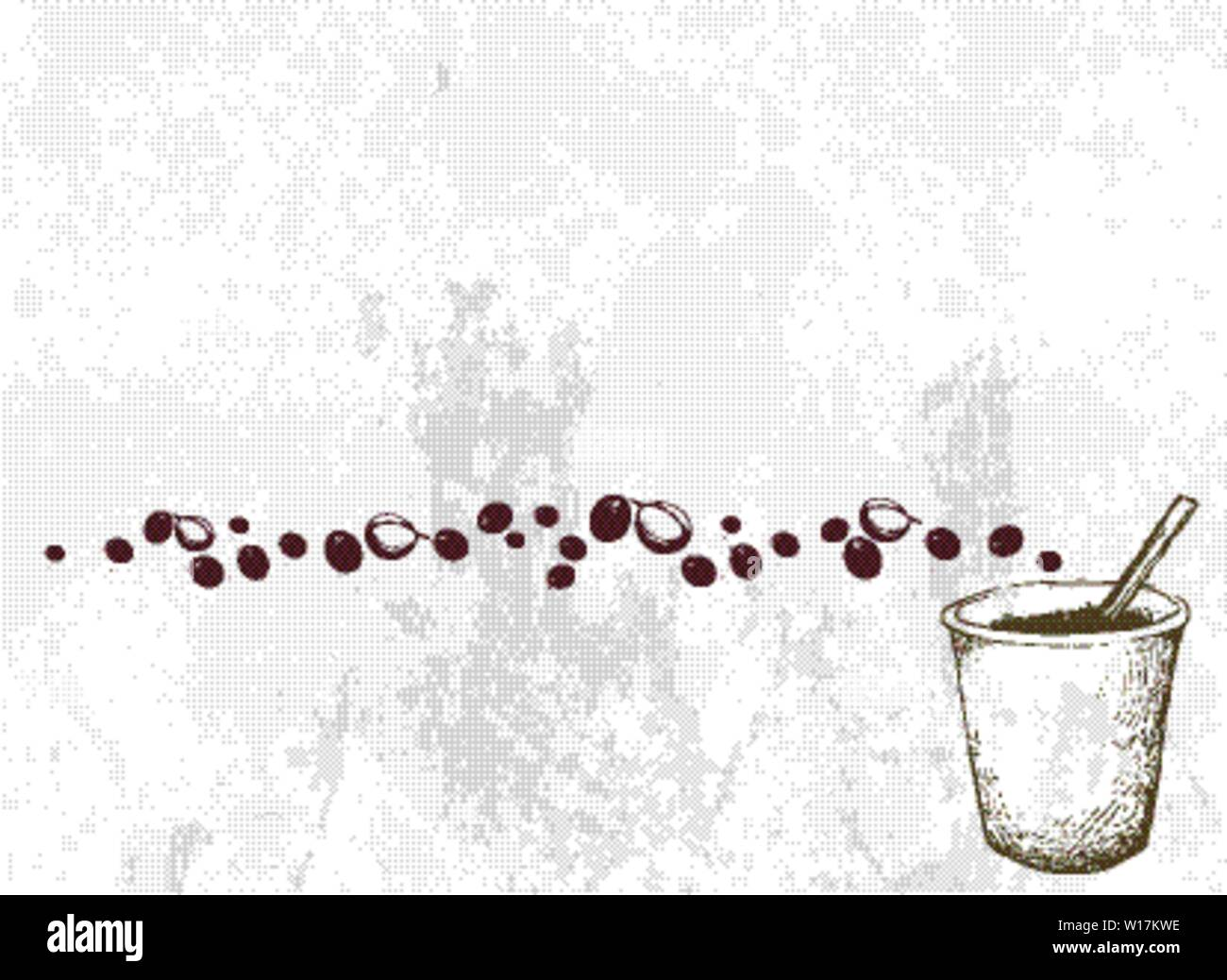 Coffee Time, Illustration Hand Drawn Sketch of Takeaway Coffee in A Disposable Cup. Stock Vector