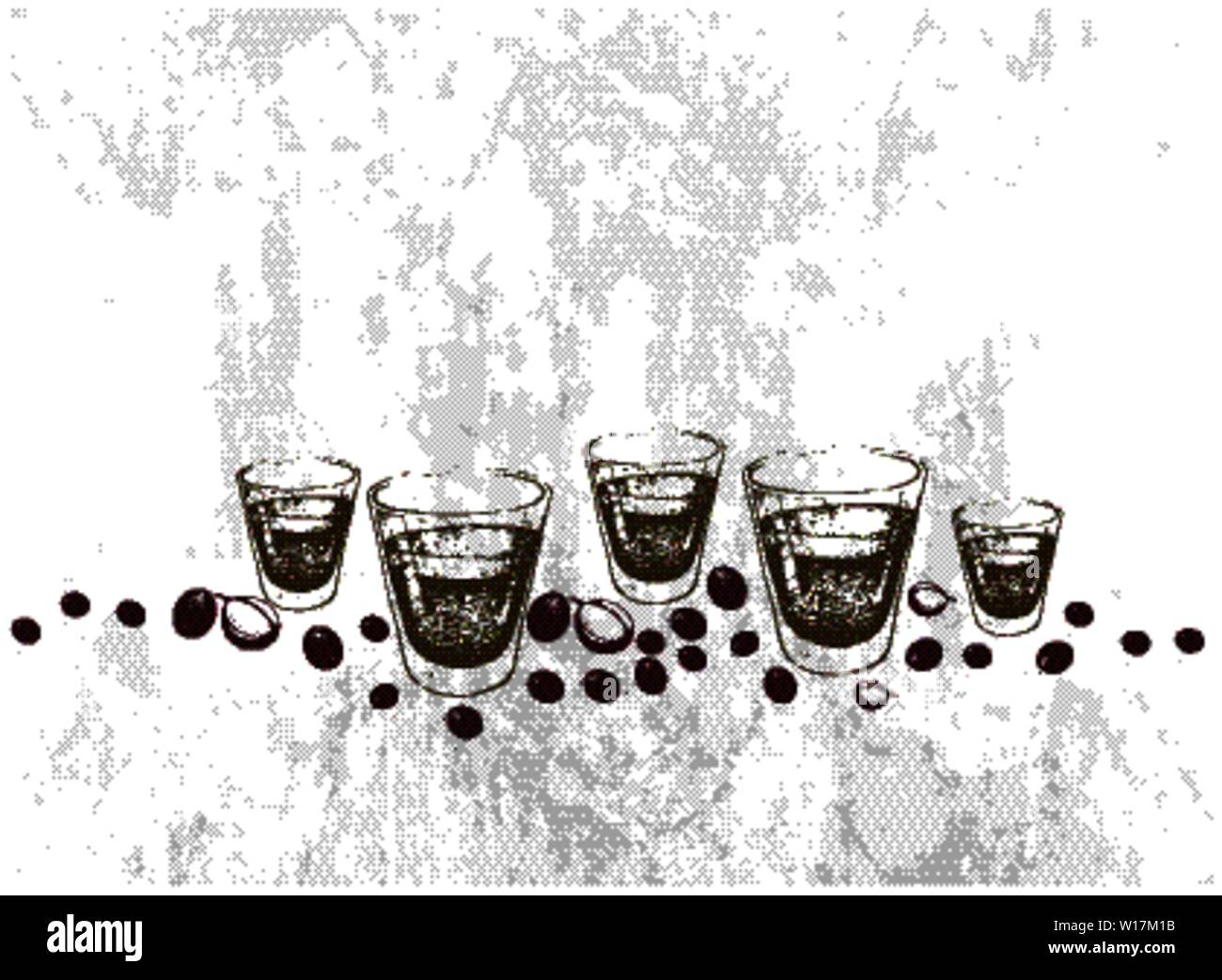 Illustration Hand Drawn Sketch of Classic Style Espresso in Shot Glasses with Roasted Coffee Beans. Stock Vector