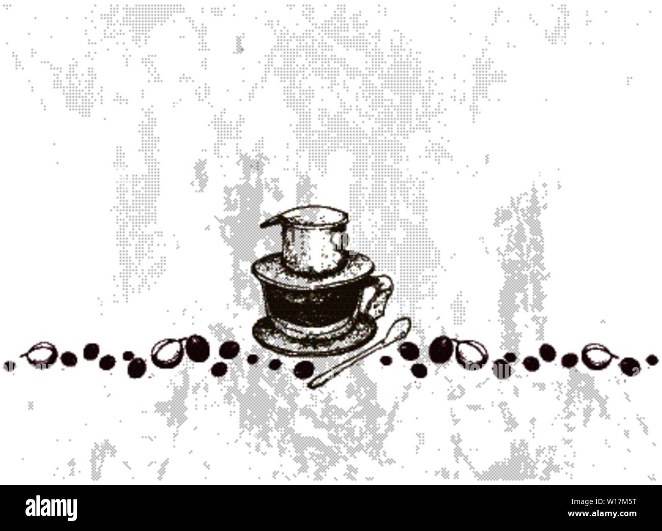Illustration Hand Drawn Sketch of Coffee Beans with Vietnam Coffee Dripper, A Vietnamese Traditional Coffeemaker. Stock Vector