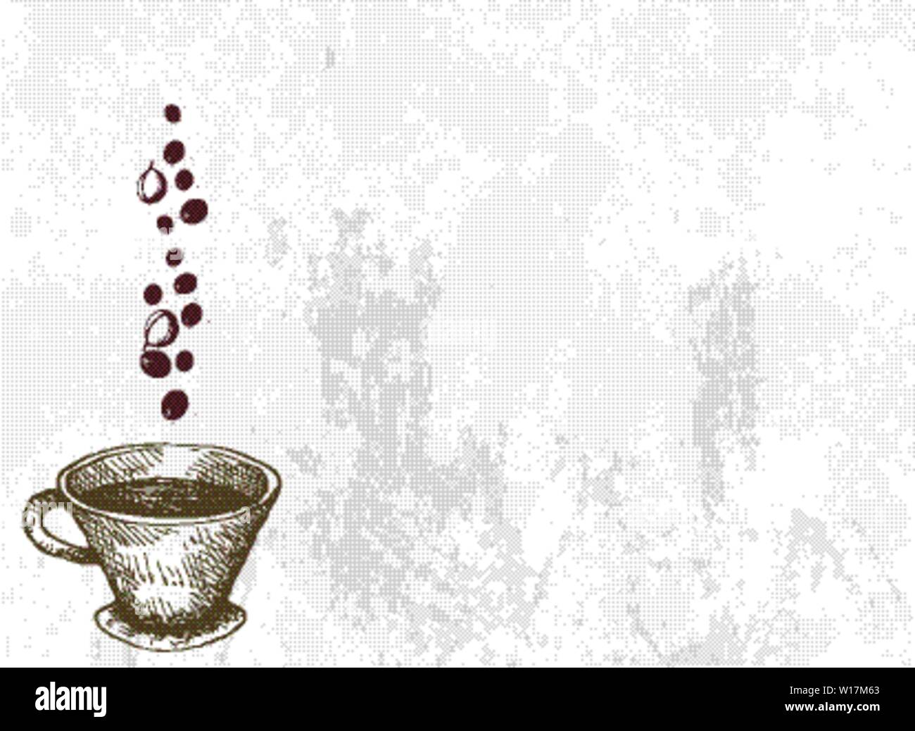Illustration Hand Drawn Sketch of A Cup of Coffee with Roasted Coffee Beans. Stock Vector
