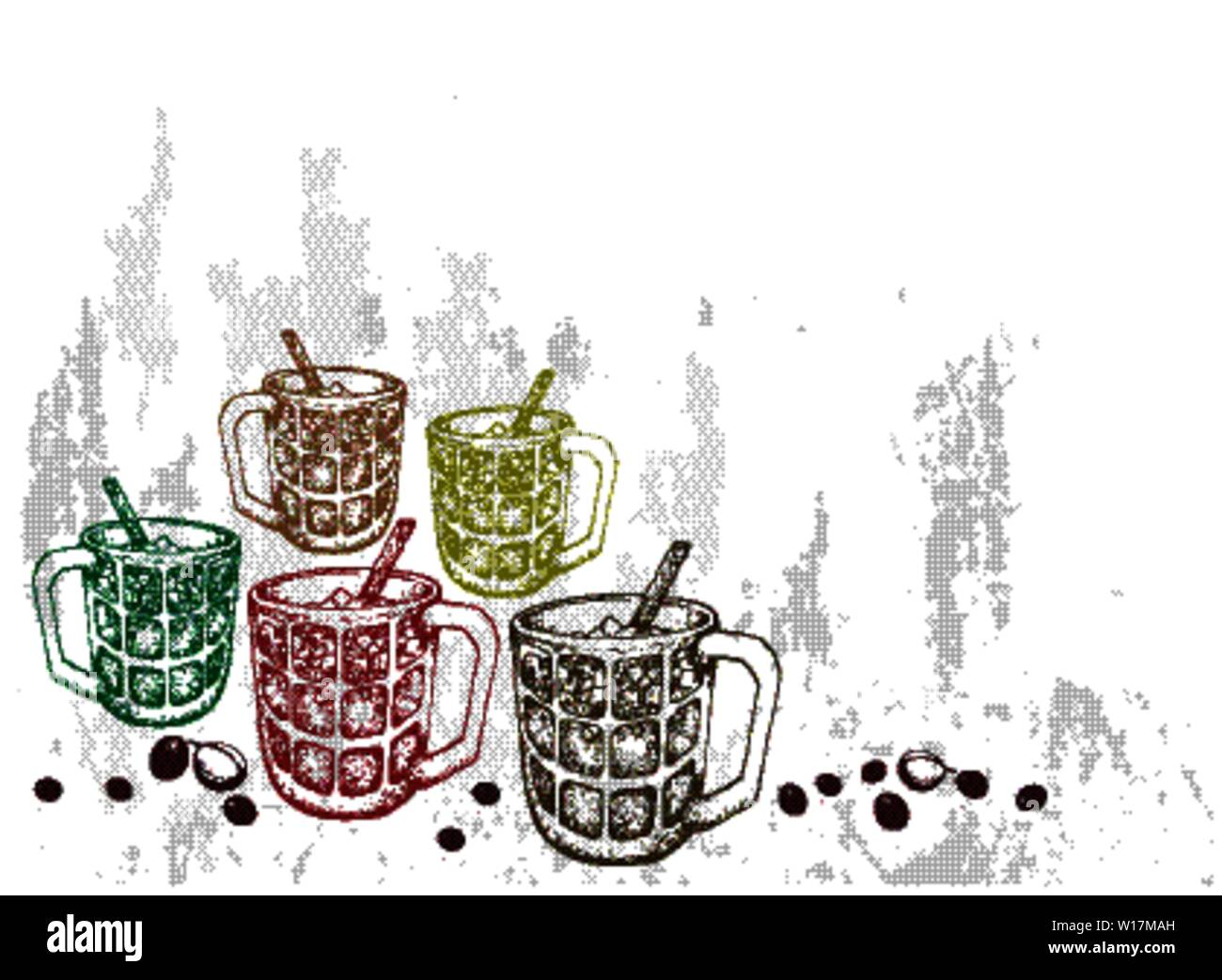 Drink and Beverage, Illustration Hand Drawn Sketch of Iced Coffee or Iced Tea. Stock Vector