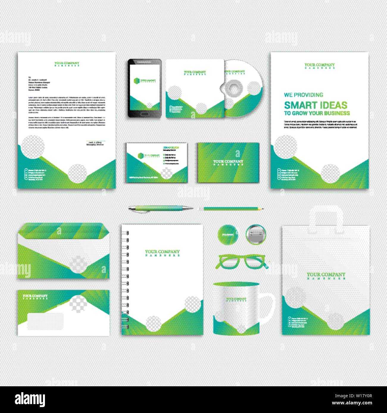 Green corporate identity design with photo frame. Business ...