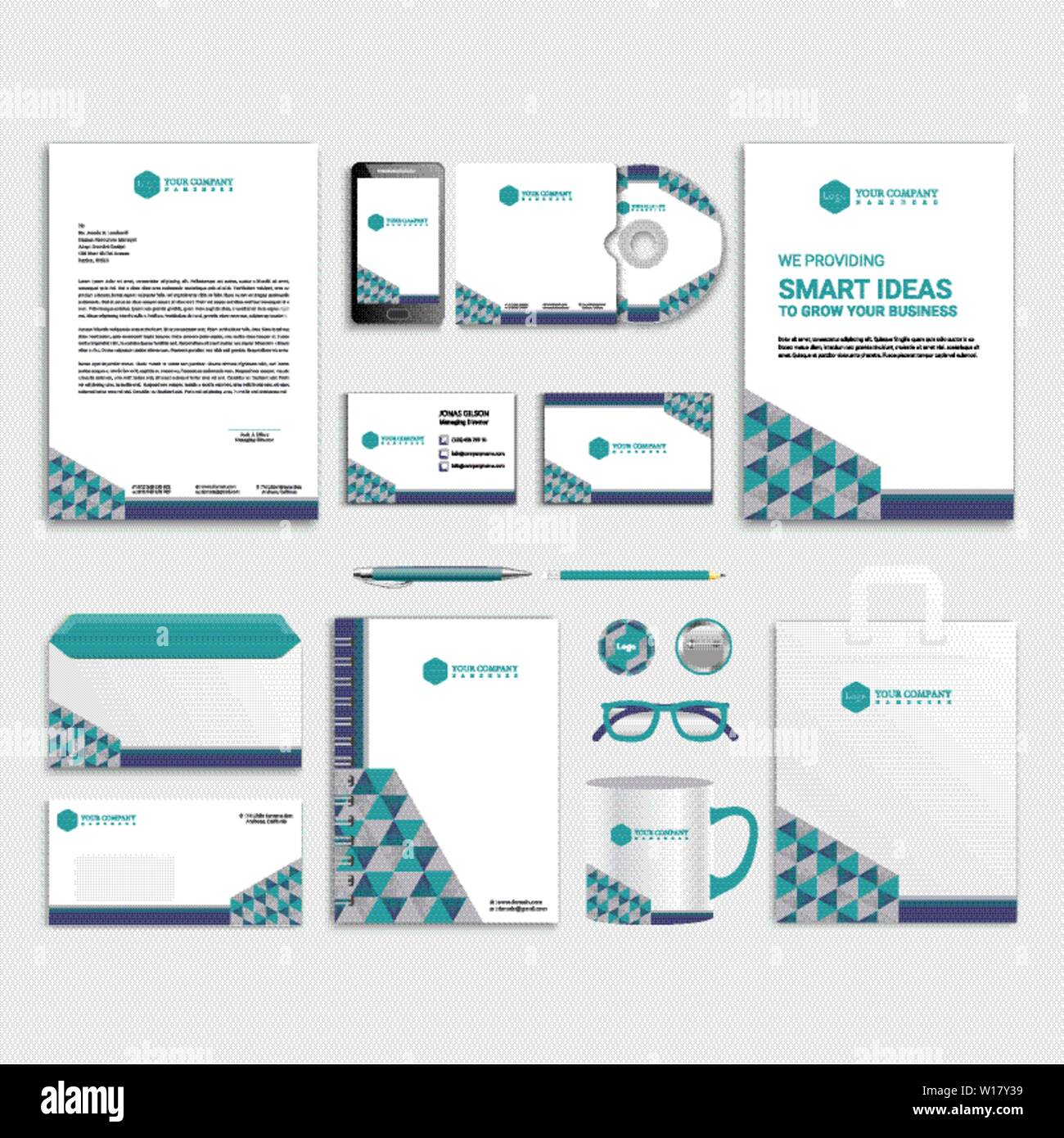 Blue corporate identity template design with color geometric ...