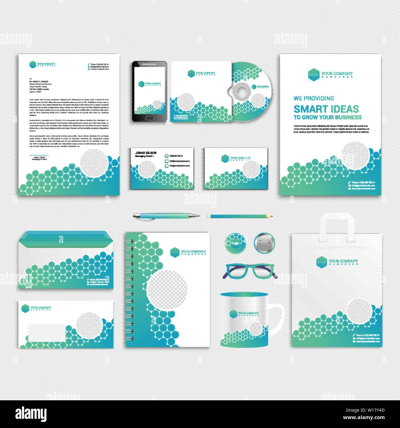 Corporate Honeycomb brand identity design with photo ...