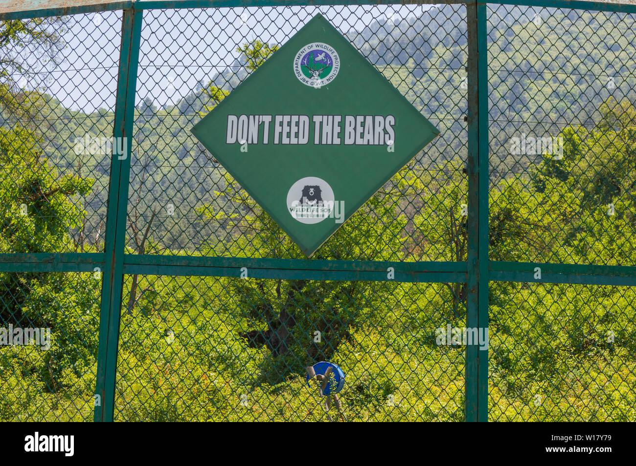Srinagar, Kashmir, India: Dated- June 19, 2019: A warning sign at a Himalayan Black Bear enclosure at Dachigam National Park in Srinagar, Kashmir - Stock Image