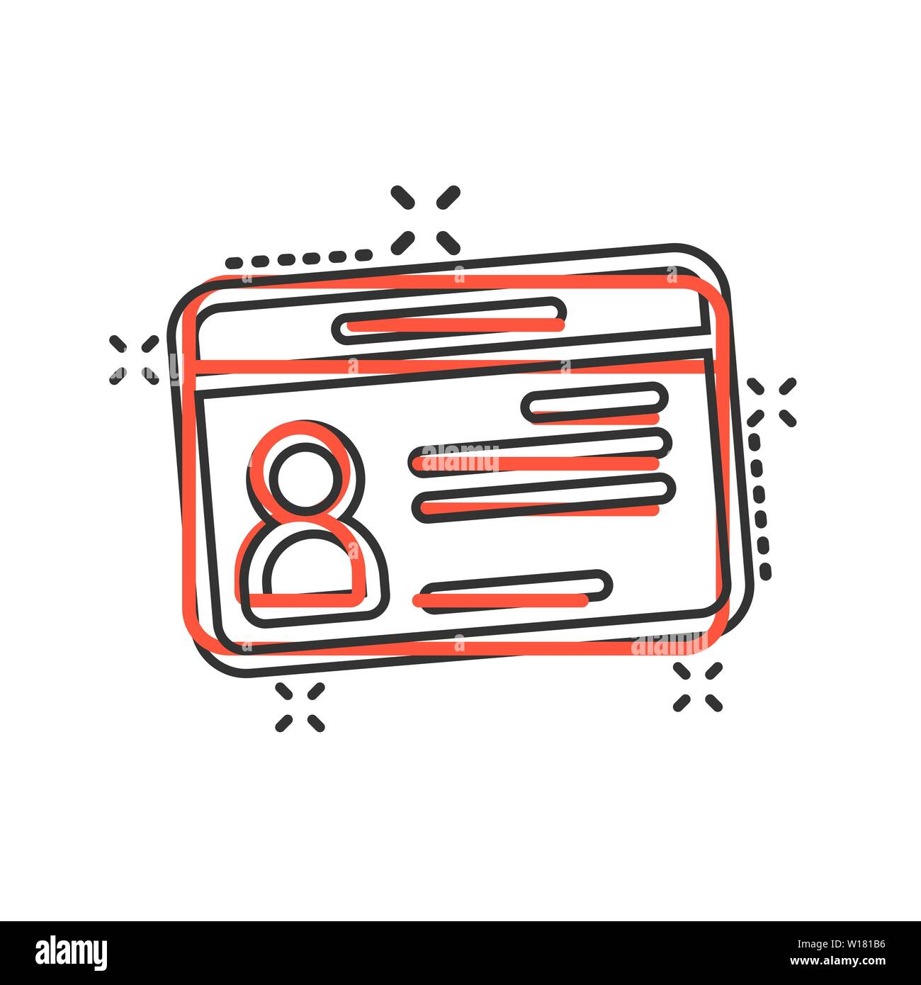Id card icon in comic style  Identity tag vector cartoon
