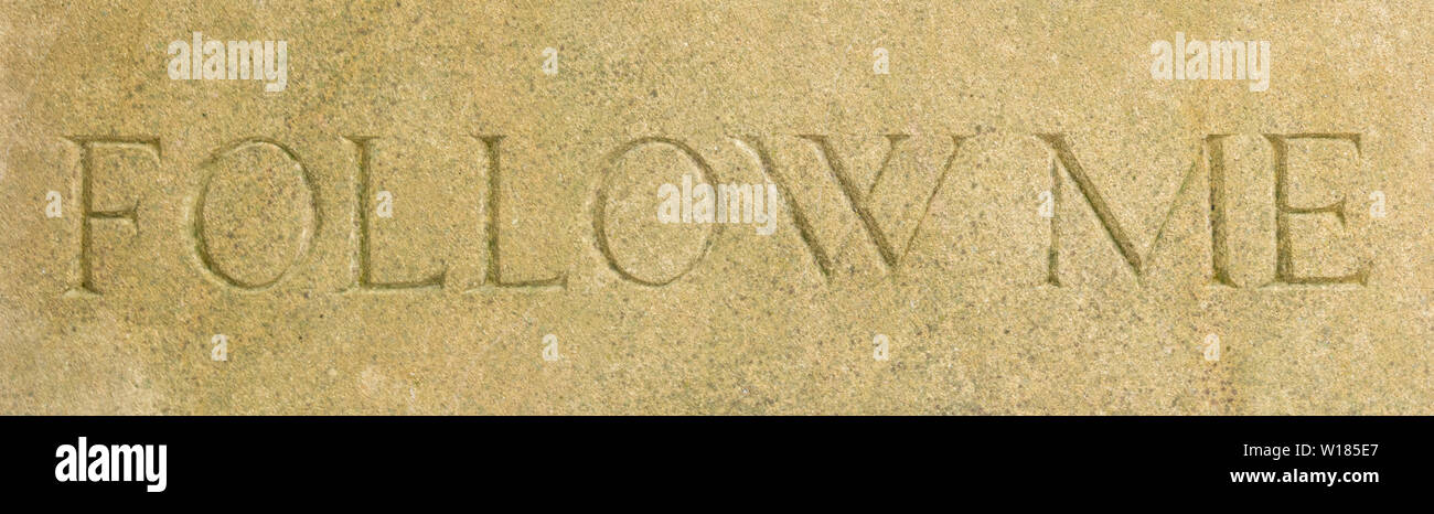 Cotswold stone Follow Me sign - Stock Image